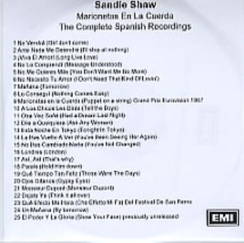 Sandie Shaw Marionetas En La Cuerda - The Complete Spanish Recordings CD-R acetate UK SDICRMA280660