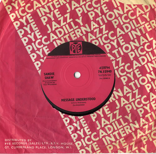 "Sandie Shaw Message Understood - Solid 7"" vinyl single (7 inch record) UK SDI07ME555637"