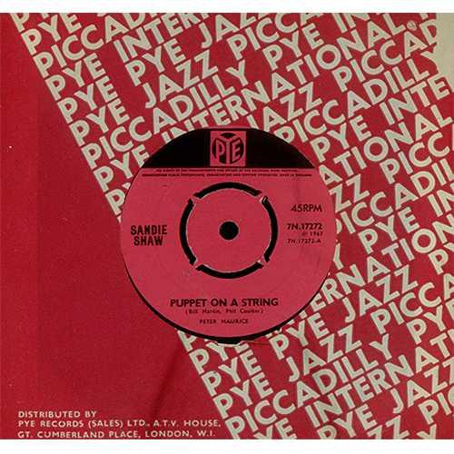 "Sandie Shaw Puppet On A String - 1st - 4pr 7"" vinyl single (7 inch record) UK SDI07PU408516"