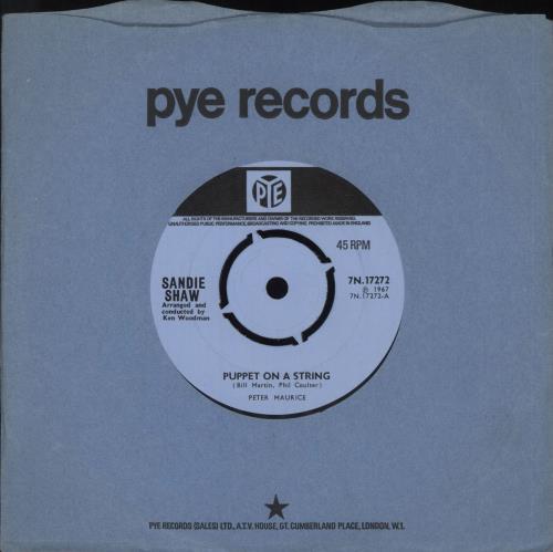 "Sandie Shaw Puppet On A String - 2nd - 4pr 7"" vinyl single (7 inch record) UK SDI07PU710027"