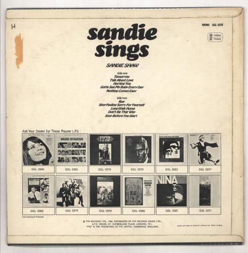 Sandie Shaw Sandie Sings vinyl LP album (LP record) UK SDILPSA735546