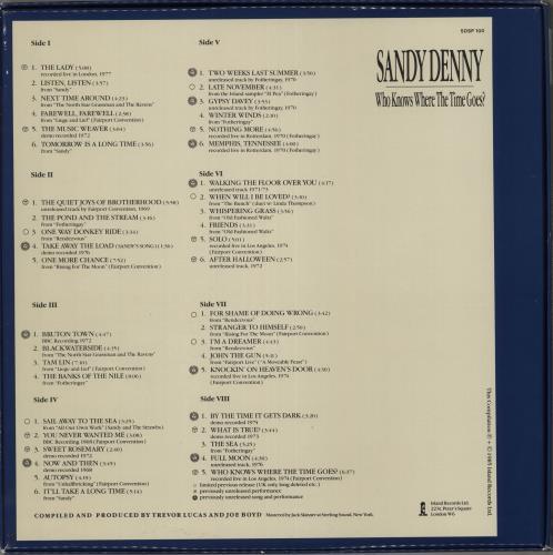 Sandy Denny Who Knows Where The Time Goes? - EX Vinyl Box Set UK SNYVXWH716494
