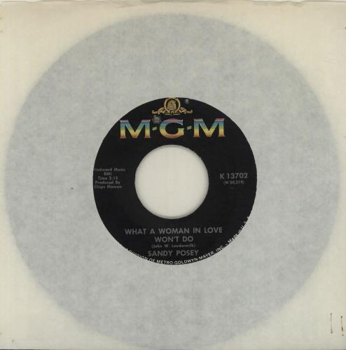 """Sandy Posey What a Woman In Love Won't Do 7"""" vinyl single (7 inch record) US SP.07WH511414"""