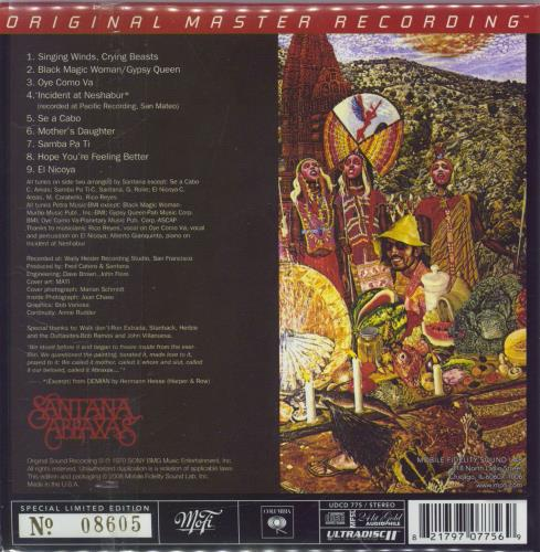 Santana Abraxas CD album (CDLP) US SNTCDAB769582