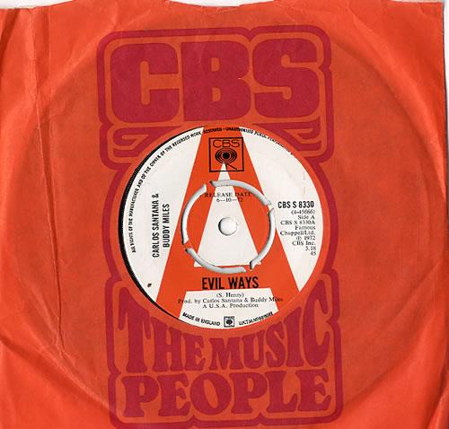 "Santana Evil Ways - A Label 7"" vinyl single (7 inch record) UK SNT07EV630237"