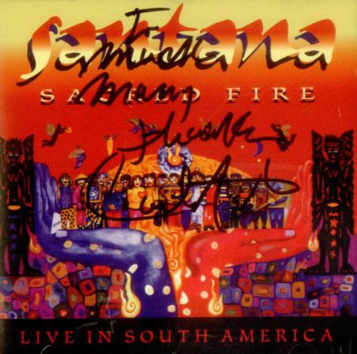 """Santana Sacred Fire - Live In South America - Autographed CD single (CD5 / 5"""") US SNTC5SA366127"""
