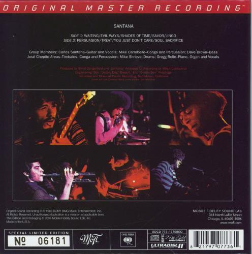 Santana Santana CD album (CDLP) US SNTCDSA769581