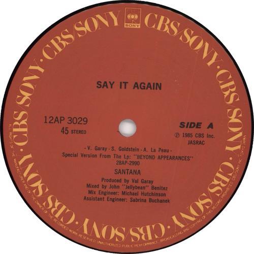 "Santana Say It Again + Obi-Stickered Shrink 12"" vinyl single (12 inch record / Maxi-single) Japanese SNT12SA719919"