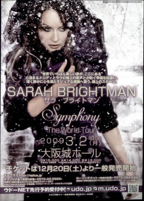 Sarah Brightman Symphony - The World Tour handbill Japanese SAHHBSY501414