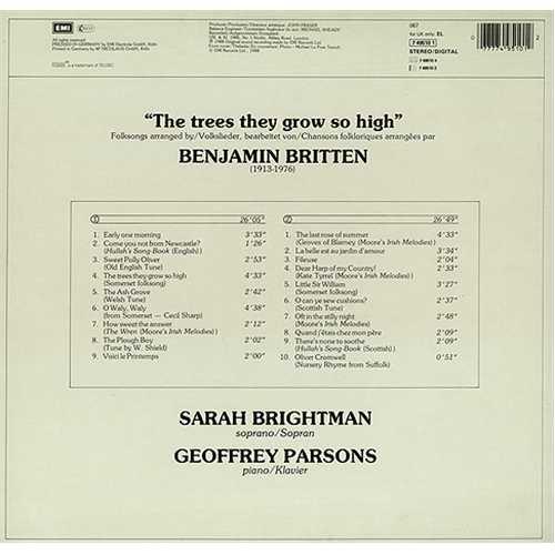 Sarah Brightman The Trees They Grow So High vinyl LP album (LP record) German SAHLPTH245388