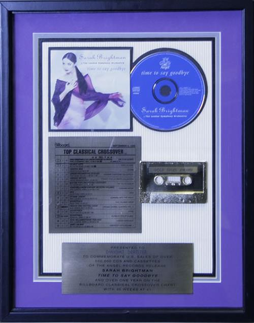 Sarah Brightman Time To Say Goodbye award disc US SAHAWTI312134