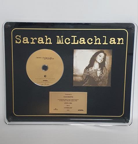 Sarah McLachlan Afterglow in-house award disc UK MCLAIAF600937