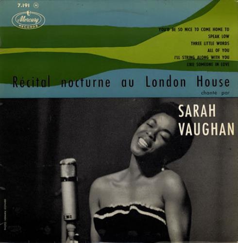 "Sarah Vaughan Récital Nocturne Au London House 10"" vinyl single (10"" record) French VAA10RC357001"