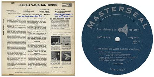 Sarah Vaughan Sings US vinyl LP album (LP record) (369977)
