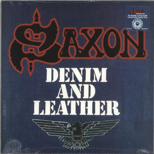 Saxon Denim And Leather - Blue & White Vinyl - Sealed vinyl LP album (LP record) UK SAXLPDE697154