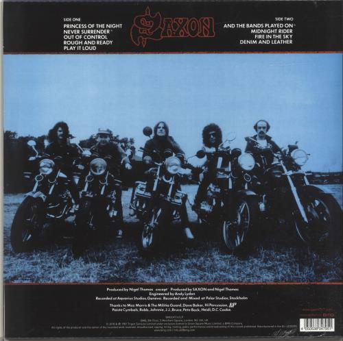 Saxon Denim And Leather - Blue & White Vinyl - Sealed vinyl LP album (LP record) UK SAXLPDE697154