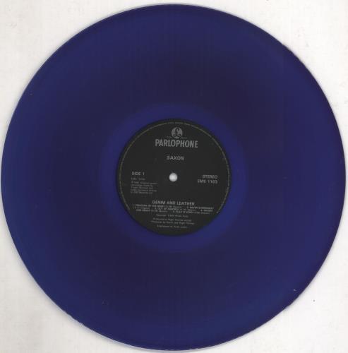 Saxon Denim And Leather - Blue vinyl vinyl LP album (LP record) UK SAXLPDE667186