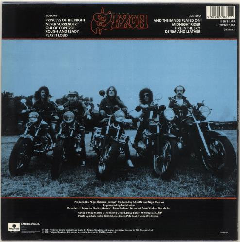 Saxon Denim And Leather vinyl LP album (LP record) UK SAXLPDE714478