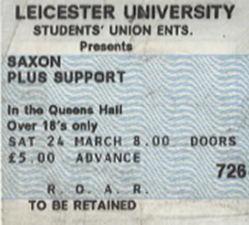 Saxon Leicester University concert ticket UK SAXTILE345436