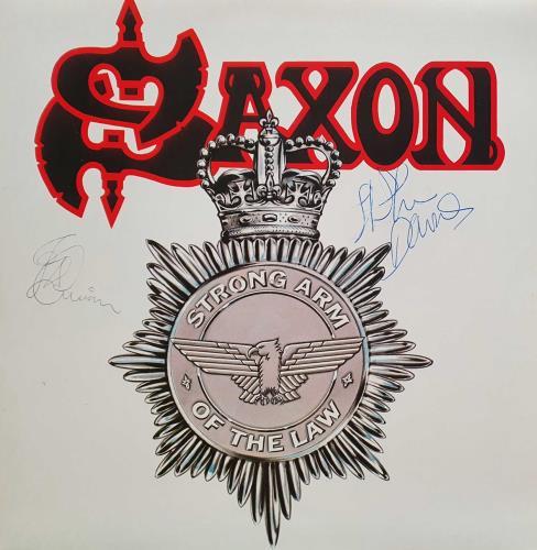 Saxon Strong Arm Of The Law - Autographed vinyl LP album (LP record) UK SAXLPST762409