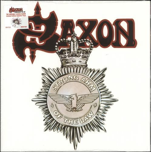 Saxon Strong Arm Of The Law - White Splattered Vinyl - Sealed vinyl LP album (LP record) UK SAXLPST720831