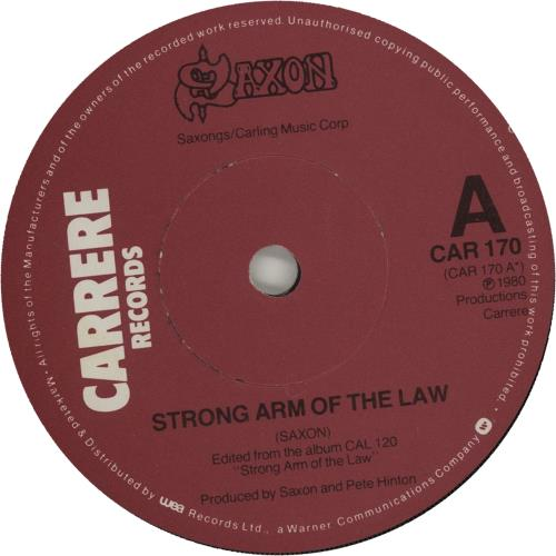 """Saxon Strong Arm Of The Law 7"""" vinyl single (7 inch record) UK SAX07ST656519"""