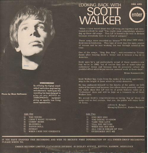 Scott Walker Looking Back With vinyl LP album (LP record) UK SWLLPLO129126