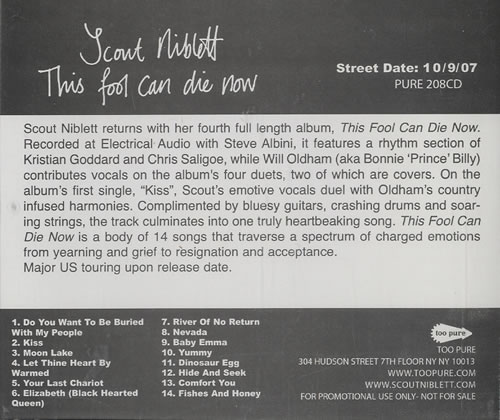 Scout Niblett This Fool Can Die Now CD album (CDLP) US SN1CDTH460210
