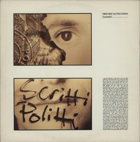 "Scritti Politti First Boy In This Town 12"" vinyl single (12 inch record / Maxi-single) UK SCR12FI91985"