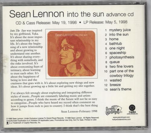 Sean Lennon Into The Sun - Circular Sticker CD album (CDLP) US LNNCDIN112191