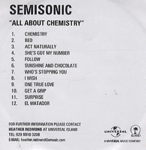 Semisonic All About Chemistry CD-R acetate UK ONCCRAL339184
