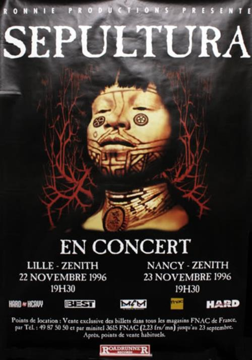 Sepultura en concert 1996 french promo poster 76824 sepultura en concert 1996 poster french seppoen76824 thecheapjerseys Choice Image