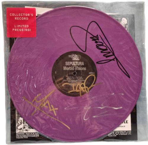 Sepultura Morbid Visions - Purple Vinyl - Autographed vinyl LP album (LP record) US SEPLPMO771012
