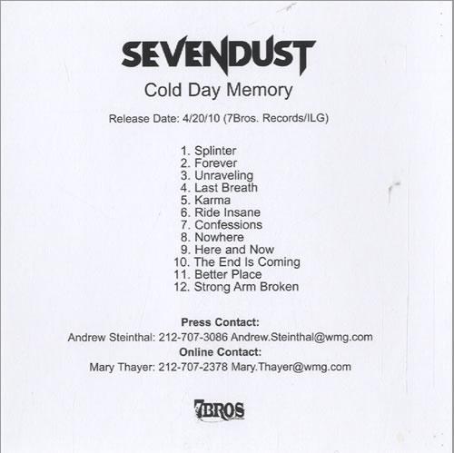 Sevendust Cold Day Memory CD-R acetate US SVDCRCO507897