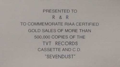 Sevendust Sevendust award disc US SVDAWSE491572