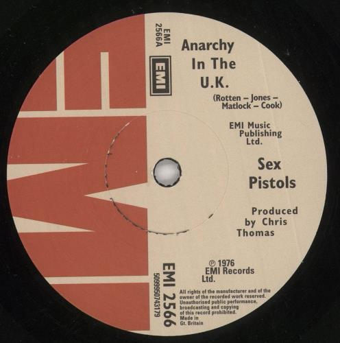"""Sex Pistols Anarchy In The UK - 30th Anniversary 7"""" vinyl single (7 inch record) UK SEX07AN412116"""