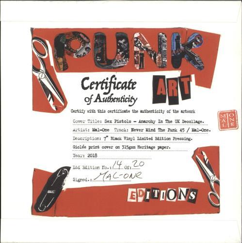 "Sex Pistols Anarchy In The UK - Punk Art sleeve 7"" vinyl single (7 inch record) UK SEX07AN708114"