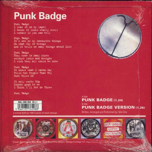 "Sex Pistols Punk Badge - Punk Art Sleeve - RSD 2021 7"" vinyl single (7 inch record) UK SEX07PU770350"