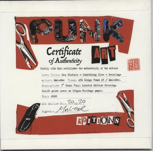 "Sex Pistols Something Else - Punk Art Sleeve 7"" vinyl single (7 inch record) UK SEX07SO757460"