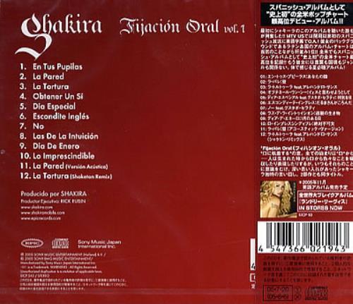 Shakira Fijacion Oral Vol 1 Japanese Cd Album Cdlp 327193