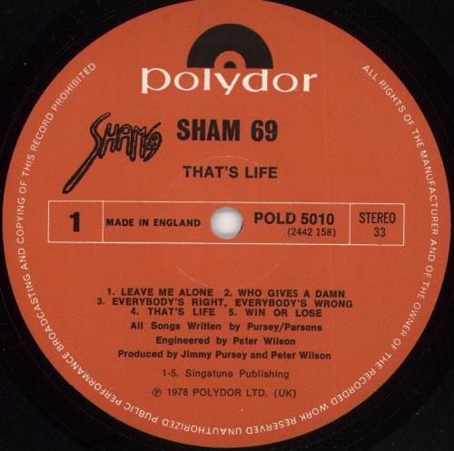 Sham 69 That's Life + Poster vinyl LP album (LP record) UK S69LPTH725502