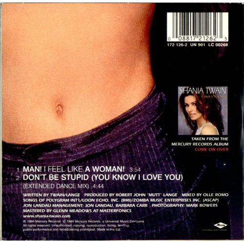 """Shania Twain Man! I Feel Like A Woman CD single (CD5 / 5"""") French SIAC5MA148448"""