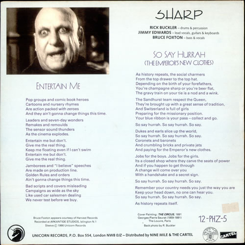 "Sharp Entertain Me 12"" vinyl single (12 inch record / Maxi-single) UK ARP12EN165196"
