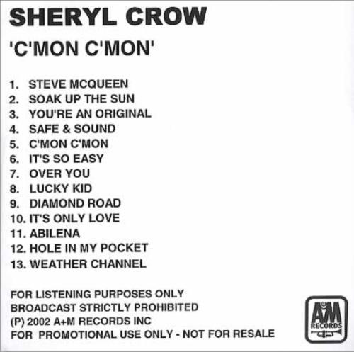 Sheryl Crow C'mon. C'mon CD-R acetate US SCWCRCM217454