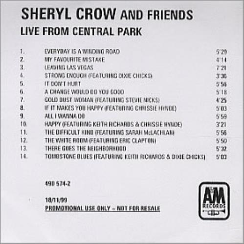 Sheryl Crow Live From Central Park CD-R acetate UK SCWCRLI148820