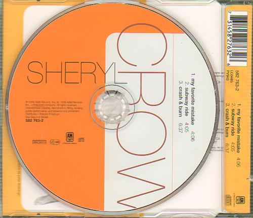 "Sheryl Crow My Favourite Mistake CD single (CD5 / 5"") UK SCWC5MY130627"