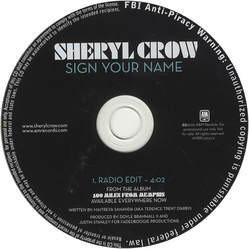"Sheryl Crow Sign Your Name CD single (CD5 / 5"") US SCWC5SI521515"