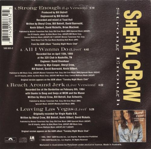 "Sheryl Crow Strong Enough CD single (CD5 / 5"") Australian SCWC5ST76816"