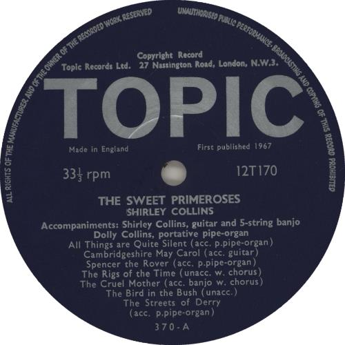 Shirley Collins The Sweet Primeroses - 1st vinyl LP album (LP record) UK SYILPTH580051