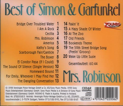 Simon Amp Garfunkel Mrs Robinson Best Of Simon Amp Garfunkel